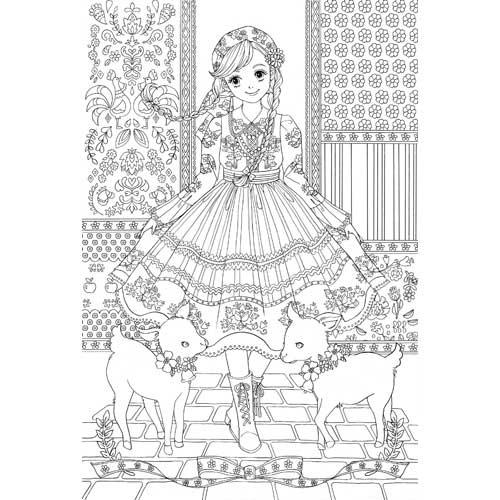 美しいプリンセスに輝くドレスに スパンコール 塗り絵の本ページ